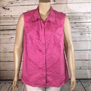 Lane Bryant 28 Pink Lace Trim Button Down Tank Top